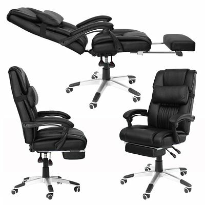 Executive PU Office Chair Racing Computer Game Footrest Swivel Recliner Black Y