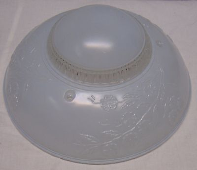 """Vintage Art Deco 3 Hole Frosted Blue Glass Hanging Lamp Shade - 10 1/4"""" D"""