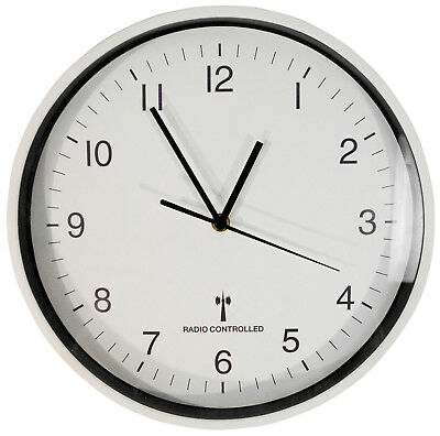 Sutton Large Round White Wall Mounted 30cm Radio Controlled Clock (Auto Updates)