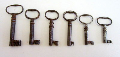 Six good condition Georgian keys for boxes,writing slopes,caddies etc