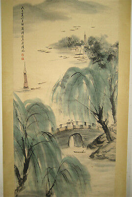 Chinese 100% Hand Painting Scroll Landscape By Fu Baoshi 傅抱石