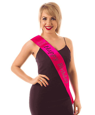 Women's Ladies It's My Birthday Diamante Pink Sash Party Fancy Dress Accessory