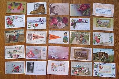 Mixed Lot Of 25 Antique And Vintage Postcards Early 1900s  #103
