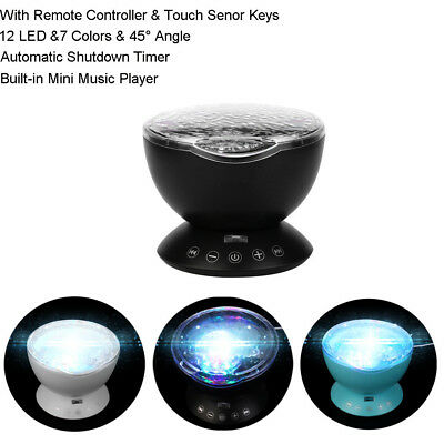 12 LED&7 Colors Lamp Remote Control Ocean Wave Projector Nightlight With Music