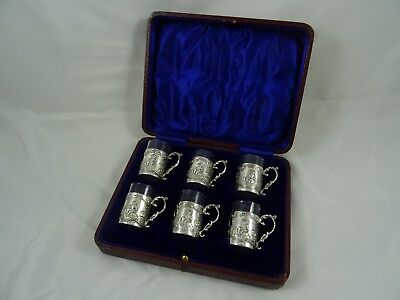 BOXED set x 6 solid silver and glass LIQUOR TOTS, 1914