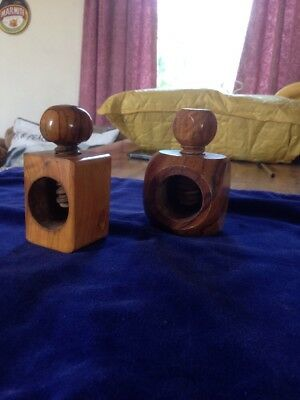 Old Vintage Wooden Nut Crackers Twist Collectable