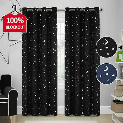 Blockout Curtains Blackout Star Curtains Kids Bedroom Eyelet Thermal Curtains 2x
