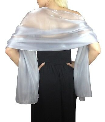 Central Chic Silver Blue Silky Shawl Bridal Bridesmaid Wedding Prom Stole Wrap