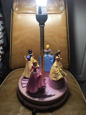 "DISNEY PRINCESS TABLE LAMP-TWIRLING-DANCING-MUSICAL-TALKING-17""- needs a SHADE"
