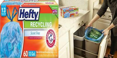 Hefty Recycling Trash/Garbage Bags (Blue, Kitchen Drawstring, 13 Gallon, 60...