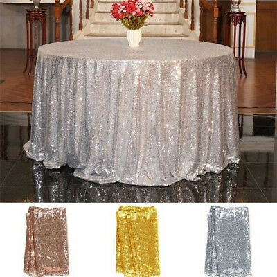 Sequin Tablecloth Linens Glitter Overlay Wedding Party Banquet Table Decoration