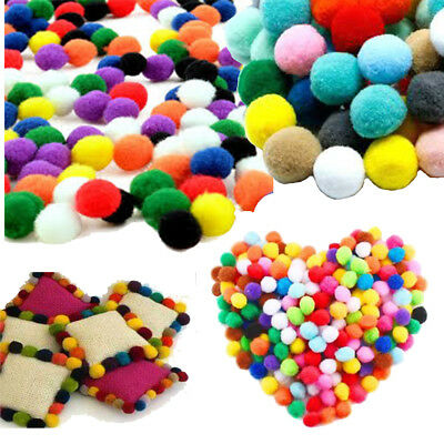 140Pcs Soft Round Pom Poms Ball Fluffy Craft Mixed Color Pom Poms DIY Craft 15mm