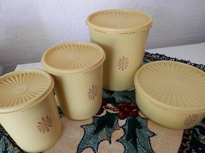 Tupperware Canisters 4 P.c Yellow/harvest Gold With Matching Lid805 &1204-6