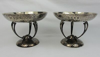 Pair Of Antique Arts & Crafts Hammered Silver Tazza Edwards Of Glasgow 1904