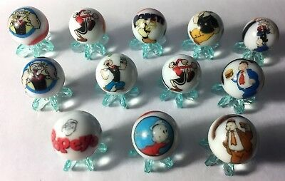 Popeye the Sailor glass marbles 5/8 size + stands
