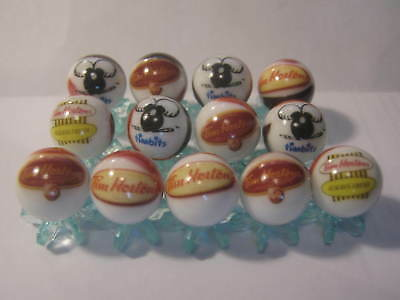TIM HORTONS COFFEE 5/8 size glass marbles lot collection + stands