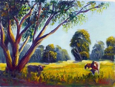 Original Landscape Oil Painting grazing farms in Victoria by Vidal