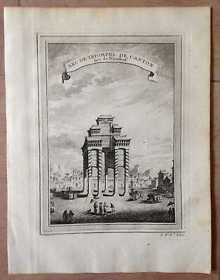 China Canton 1750 By Nieuhoff & Bellin Antique Copper Engraved View