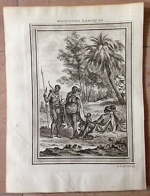South Africa Hottentots 1754 By Nicolas Bellin Nice Antique Copper Engraved View