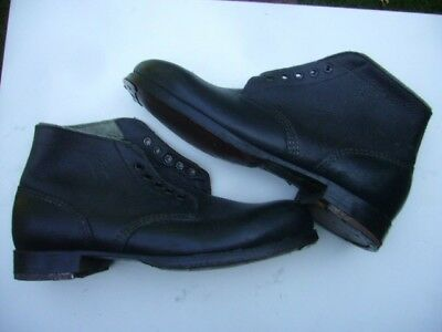 WWII Army type Heer leather ankle combat boot, heel irons and toe taps 8.5-9