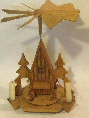 Vintage East German Christmas Nativity Pyramid Wooden Carousel Windmill Candle
