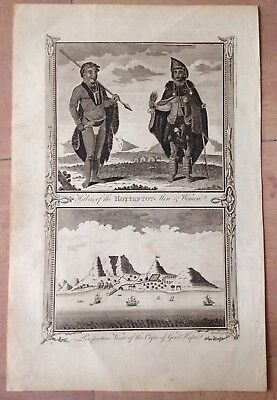 South Africa Cape Town Hottentots 1780 By Hogg Nice Antique Copper Engraved View