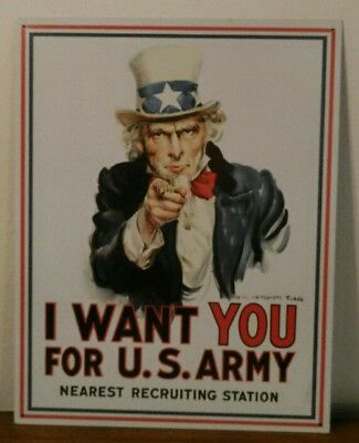 Vintage Metal I WANT YOU FOR U.S. ARMY  Ad Sign