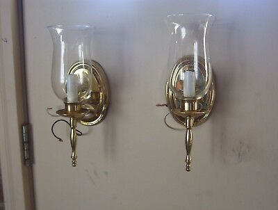 Pair vintage brass plated wall sconces with hurricane globes