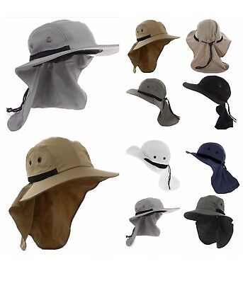 Unisex UV Protection Boonie HAT Outdoor Brim Neck Cover Bucket Sun Flap Cap HATS