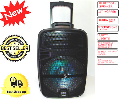 "Cyber WEEK Deals 15"" Rechargeable PA Speaker +USB/SD/LED +Free Mic & Stand"