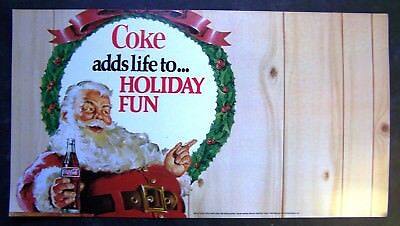 "Vintage Coca-Cola Santa Claus Store Sign ""Coke adds life to... Holiday Fun"""