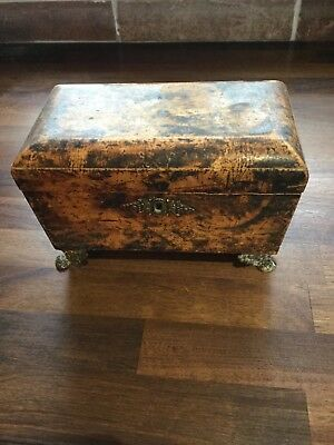19th C SMALL  FAUX TORTOISE SHELL TEA CADDY