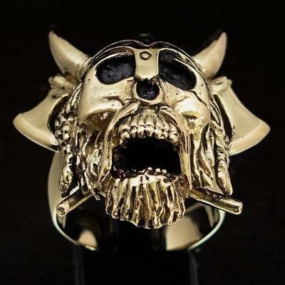 Bronze Mens Costume Ring Viking Warrior Crossed Axes And Beard Any Size