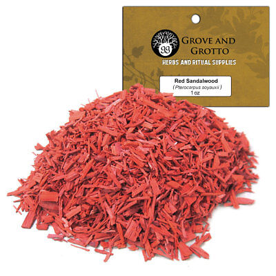 Red Sandalwood Chips 1 oz Cut Herb Pieces Wildcrafted C/S by Grove and Grotto