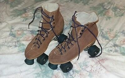 Vintage Roller Skates  80S/90S - California Plate - Riedell Boots - Brown Suede