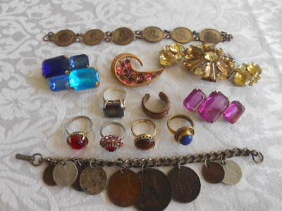 Costume jewelry Lot of 13 pcs. Cooper W Germany ring* coin bracelets* brooches