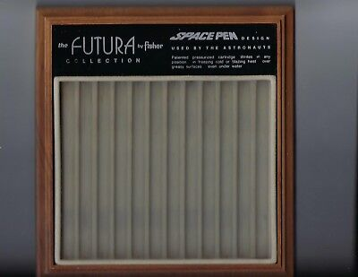 Vintage Fisher Space Pen Collection 12 Slot Wood & Felt Showcase Tray-1980's
