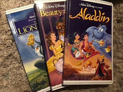 Disney Classic VHS Notebook Journal Set of 3 Aladdin Lion King Beauty Beast