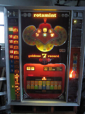alter Geldspielautomat rotamint goldene 7 record