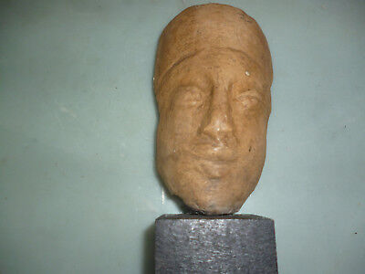 Seldom, Ancient terra cotta Etruscan Mask, including podest ca.650 B.C.