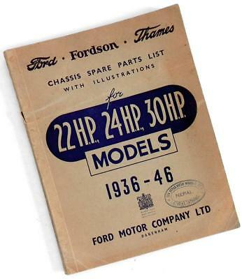 1936-46 FORD Fordson Thames CHASSIS PARTS LIST BOOK Dagenham Nepal
