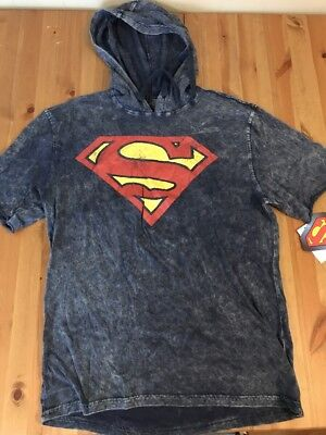 NWT Mens Superman Short Sleeve Hooded Graphic T Shirt Size Large