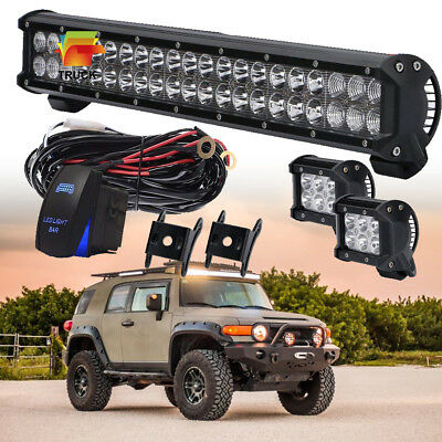 "20"" Front Bumper LED Work Light Bar Free 2x4"" Pod Offroad Driving Lamp Car Truck"