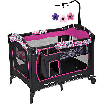 Nursery Crib, Floral Garden Pack In Play and Sleep Bedside Bed Infant Baby New