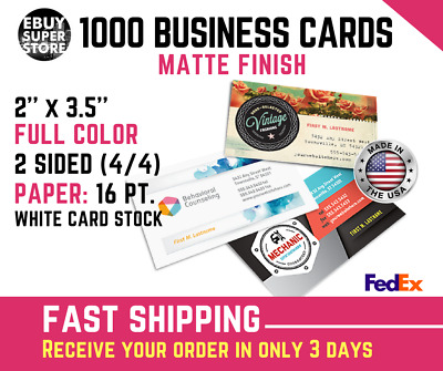1000 Full color Business cards Matte Both Sides Fast shipping