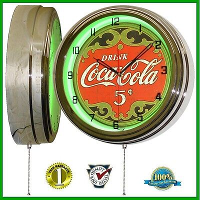 """Drink Coca Cola * 5 Cents Sign 16"""" Neon Lighted Wall Clock Green Chrome"""