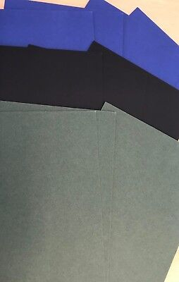 10 Off 8X6 Inch Mount Board Card Offcuts 3 Black, 4 Blue, 3 Green, Ideal Crafts