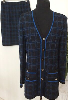 St John Collection By Marie Gray Wool Blend Black/Blue 2 Piece Skirt Suit Sz 6