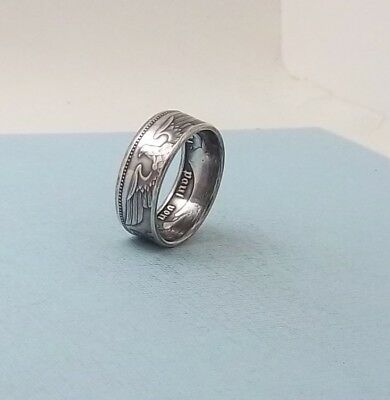 Third Reich WWII 1937 German 5 mark 90% silver coin ring size 10