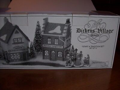 """Dept 56 Dickens Village """"Start a Tradition"""" Set of Bldgs & Acc #5832-7"""